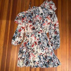 Parker Asymmetric Sleeve Floral Mini Dress